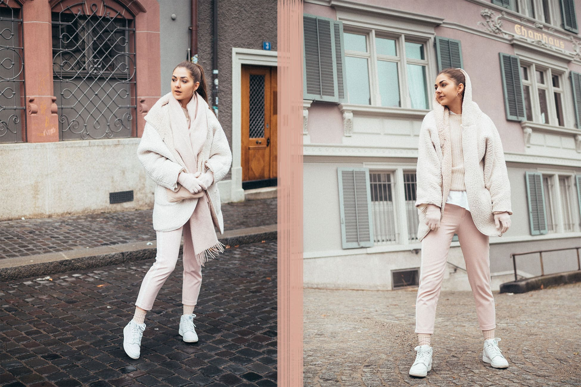 Minimalism, Pink, Teddy, Jacket, Winter Outfit, Trackpants, Nike, Sneakers, Fluffy, Faux Fur, Fake Fur, Classics, Fashion, Inspiration, OOTD, Outfit, Neutrals, Girl, Girls, Fashion Look, Fashion Blogger