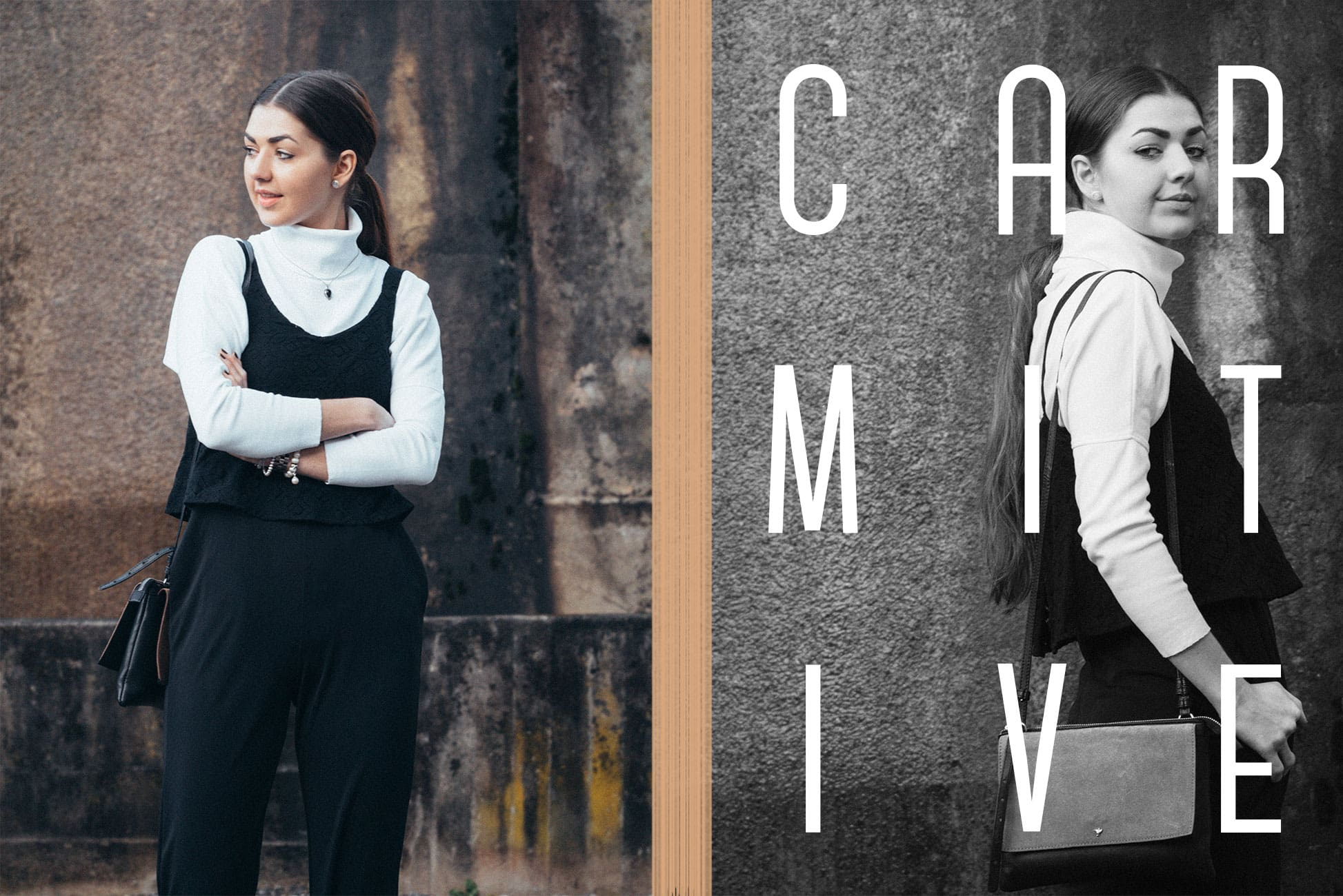 Minimalism/Black-and-white/Jumpsuit/Turtleneck/Sorel-boots/Clutch/Outfit/Inspiration/Classics/Fashion/Gif