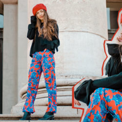 Outfit, Fashionblog, Fashion Blog, Fashion Blogazine, Online-Magazine, Beret, Flower Print, Down Jacket, Red, Blue, Red Outfit, Red Look, OOTD, Fashion Editorial, Collage