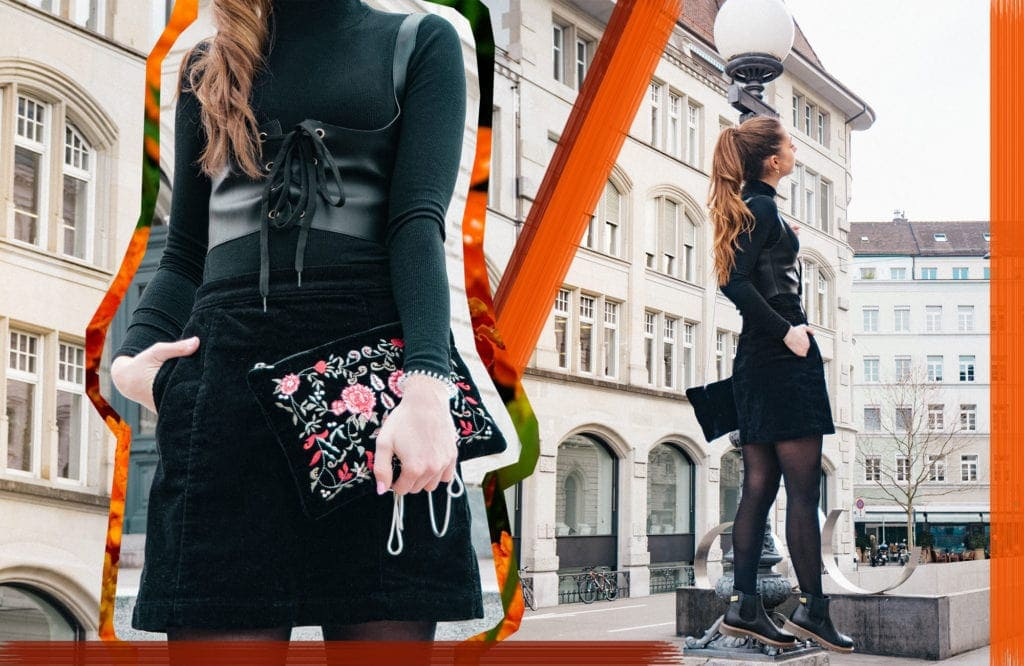 All black, Outfit, Embroidery, Tights, FW18, SS18, Corset, Corduroy, Ankle Boots, Black Boots, OOTD, Fashion, Fashion Blog, Fashion Magazine, Editorial, Fashion Editorial, Zurich, Ponytail, Classics, Frida Kahlo, Kahlo, Details