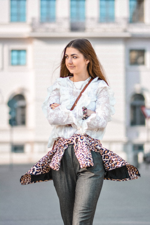 Editorial, Fashion Editorial, Fashion, Fashion Blog, Fashion Week, Fashion Month, Gucci, Leopard Print, Puma, Sneakers, Ruffles, Spring Look, FW17/18, Gif, Portrait