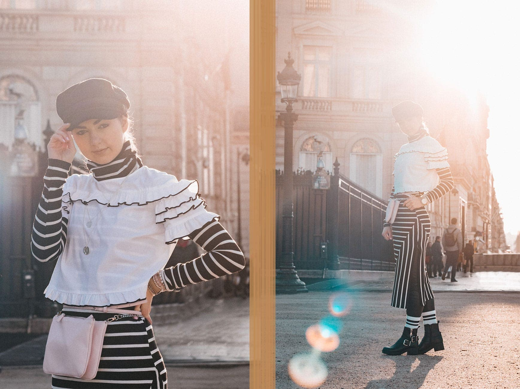Paris, Paris Fashion Week, PFW, PFW18, Stripes, Basics, Outfit, Fashion, Fashion Blog, Fashion Blogger, Online-Magazine, Black and White, Ankle Boots, Details
