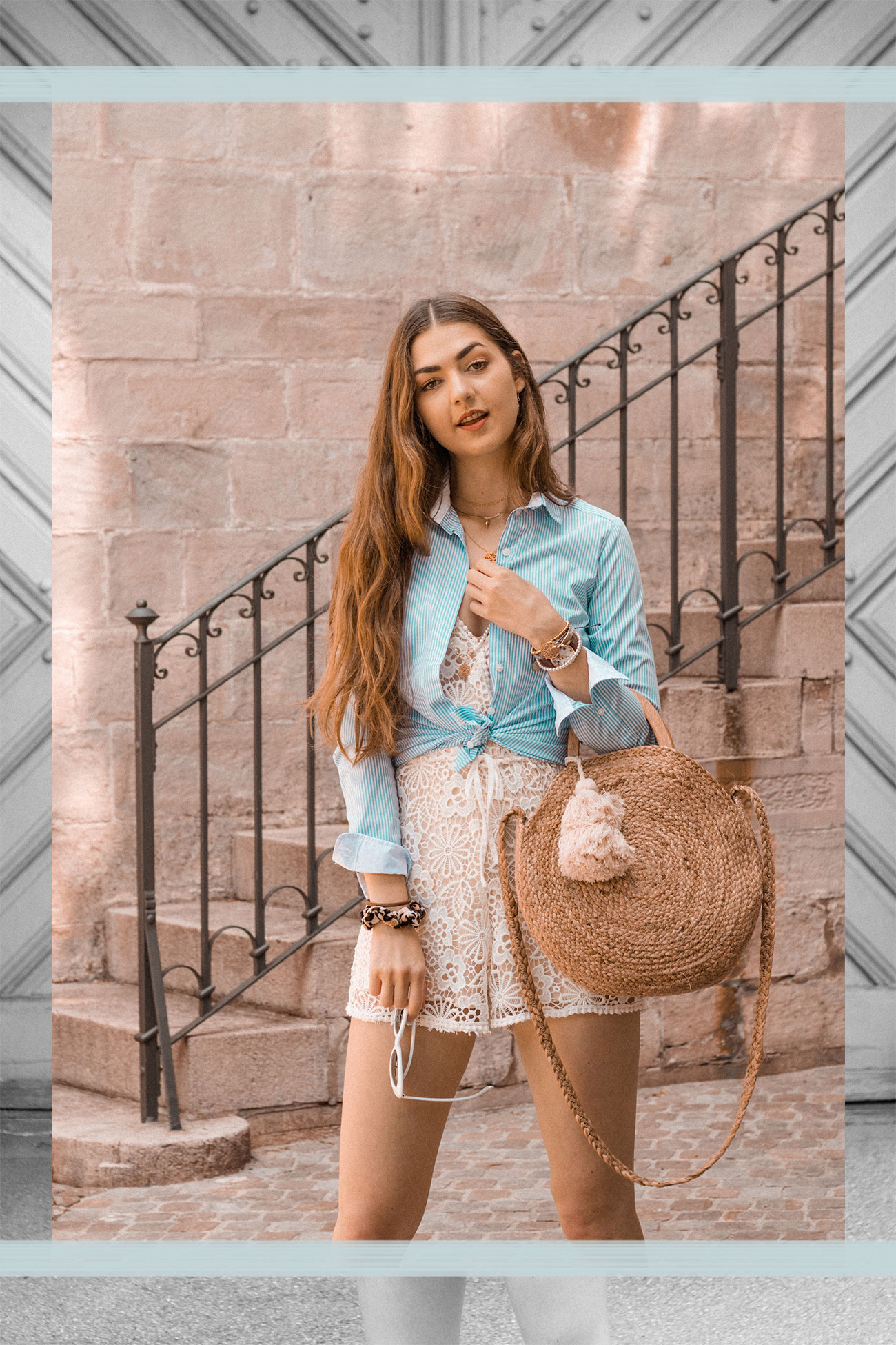 Fashion, Fashionblog, Fashion Magazine, Editorial, Style, Style Guide, Style Inspiration, Streetwear, Street Style, Swiss, Switzerland, Outift, OOTD, Outfit Inspiration, Inspo, Girly, Romper, Jumpsuit, Lace, Shirt, Straw Bag, Summer, Trend, Trendsetter, Zurich